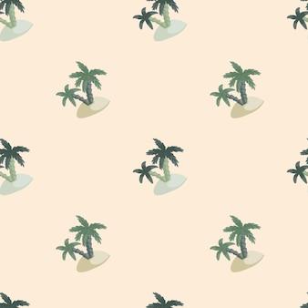 Modello senza cuciture di natura tropicale con stampa isola e palma.