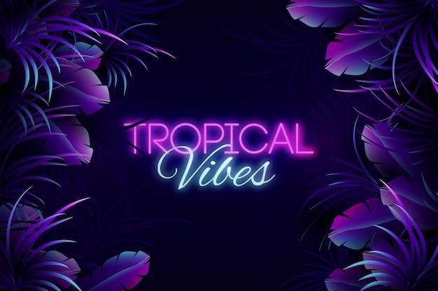 Iscrizione al neon tropicale con sfondo di foglie