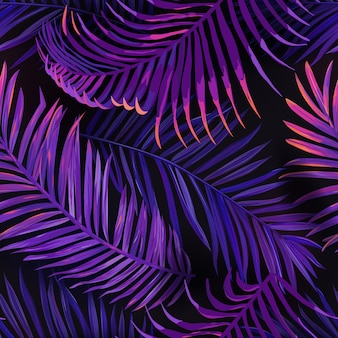 Modello senza cuciture di foglie di palma tropicali al neon. priorità bassa floreale colorata viola della giungla. design fluorescente con fogliame botanico esotico estivo con piante tropicali per tessuti, tessuti di moda, carta da parati. vettore