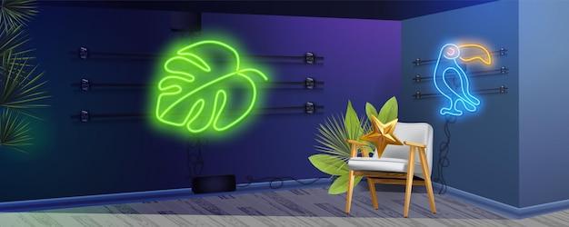 Insegna al neon tropicale foglie di palma. segno luminoso di foglie esotiche monstera. set al neon estivo.