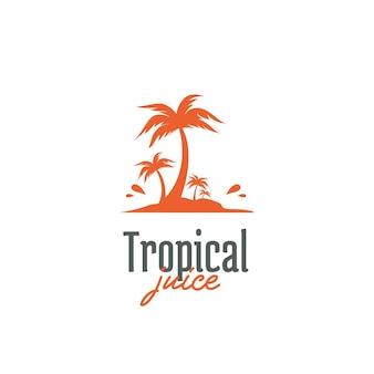 Modello dell'icona del logo del succo d'arancia tropicale dell'isola