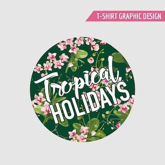Sfondo di fiori di orchidea tropicale. t-shirt con grafica design in