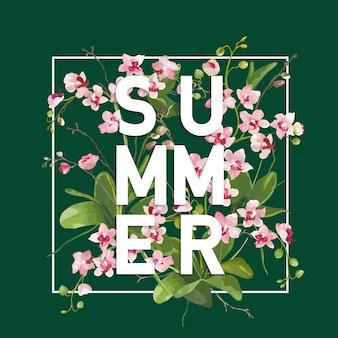 Fondo tropicale di estate dei fiori dell'orchidea. design grafico per striscioni per magliette in
