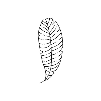 Foglia di palma tropicale in stile liner minimalista alla moda. illustrazione vettoriale per la stampa su t-shirt, web design, saloni di bellezza, poster, creazione di un logo e modelli