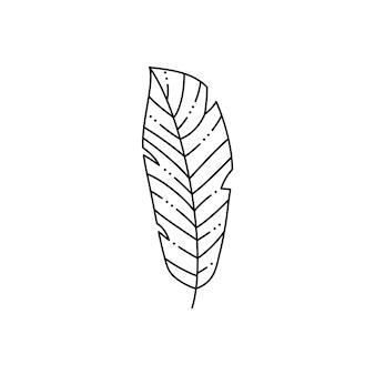 Foglia di palma tropicale in stile liner minimalista alla moda. illustrazione vettoriale per la stampa su t-shirt, web design, saloni di bellezza, poster, creazione di un logo