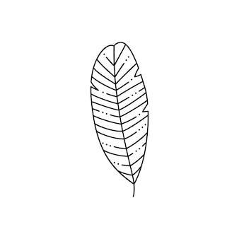 Foglia di palma tropicale in stile liner minimalista alla moda. illustrazione vettoriale per la stampa su t-shirt, web design, tattoo, poster, creazione di un logo e altro