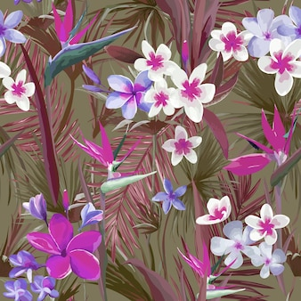 Foglie e fiori di palma tropicale, foglie della giungla motivo di sfondo floreale vettoriale senza soluzione di continuità per carta da parati, tessuto moda, stampa su tessuto, modello di progettazione