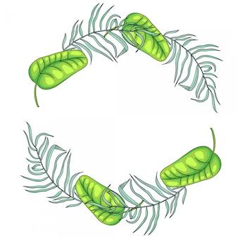Bordo di foglie di palma tropicale cornice, corona