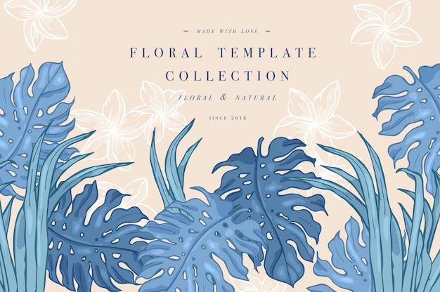 Foglie di palma tropicale. modello di sfondo o poster di disegno della giungla. illustrazione foglie della giungla incise. modello colorato.
