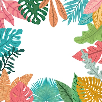 Foglie di palma tropicali, illustrazione naturale dello sfondo del fogliame della giungla
