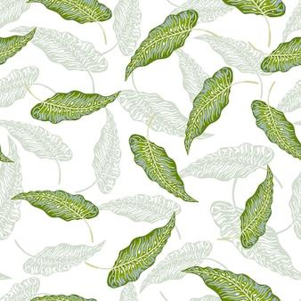 Modello senza cuciture delle foglie di palma tropicale isolato su priorità bassa bianca.