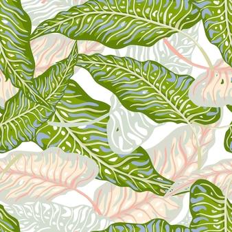 Modello senza cuciture di foglie di palma tropicale. la giungla lascia la carta da parati botanica.