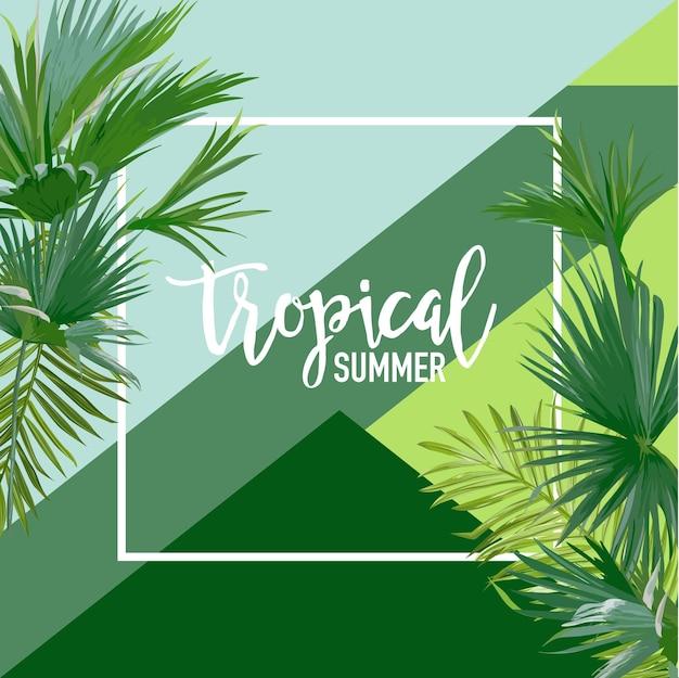 Banner estivo di palme tropicali, sfondo grafico, invito floreale esotico, volantino o carta. prima pagina moderna