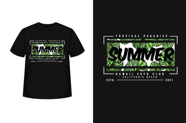 Design di t-shirt di merchandising con illustrazione estiva paradiso tropicale con foglia