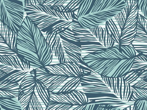 Modello tropicale, foglie di palma sfondo floreale vettoriale senza soluzione di continuità. pianta esotica su strisce stampa illustrazione. stampa giungla natura estiva. foglie di palma sulle linee di verniciatura.