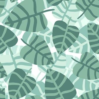 Modello tropicale, foglie di palma sfondo floreale vettoriale senza soluzione di continuità. pianta esotica. estate natura mano disegnare stampa giungla.