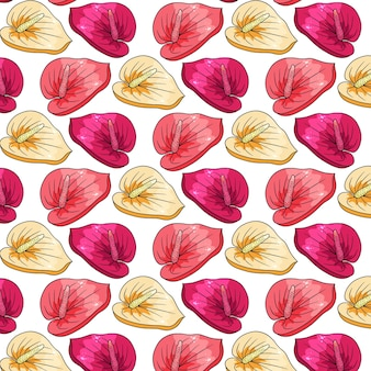 Reticolo tropicale con fiori esotici in stile cartone animato. stampa estiva brillante per design e sfondo.