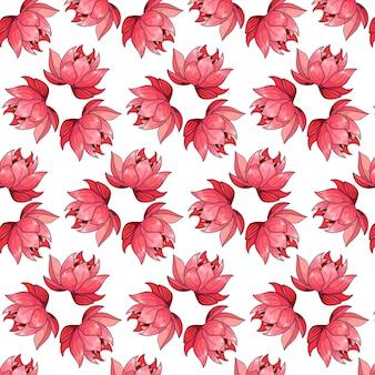 Reticolo tropicale con fiori esotici in stile cartone animato. stampa estiva brillante per design e sfondo. Vettore Premium
