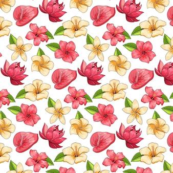 Modello tropicale con piante esotiche, fiori e foglie in stile cartone animato.