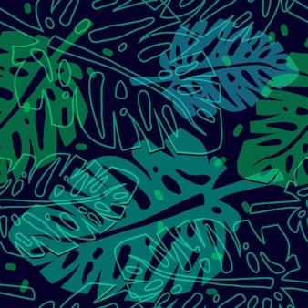 Reticolo tropicale con foglie di palma reticolo senza giunte di vettore