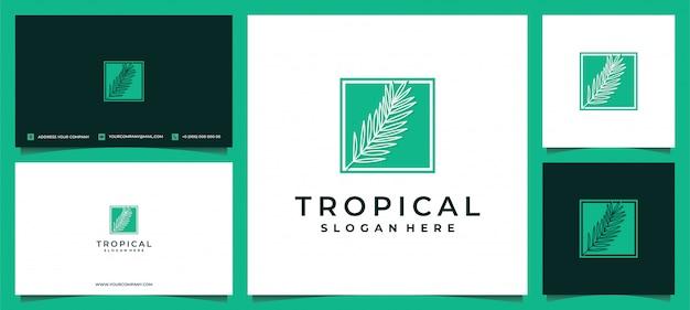 Logo di foglie verdi pianta tropicale con biglietto da visita