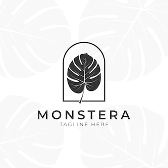 Logo di foglie di piante tropicali. monstera lascia il design del logo. illustrazioni vettoriali.