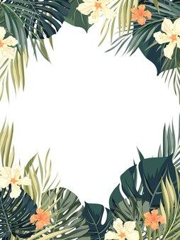 Piante tropicali e illustrazione di fiori di ibisco esotici