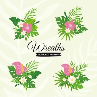 Piante tropicali e set di ghirlande floreali, ghirlande di foglie tropicali esotiche e badge