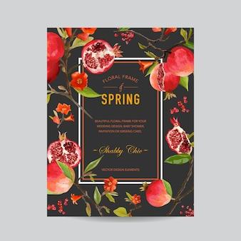 Cornice colorata di melograno e fiori tropicale - per invito, matrimonio, carta per baby shower
