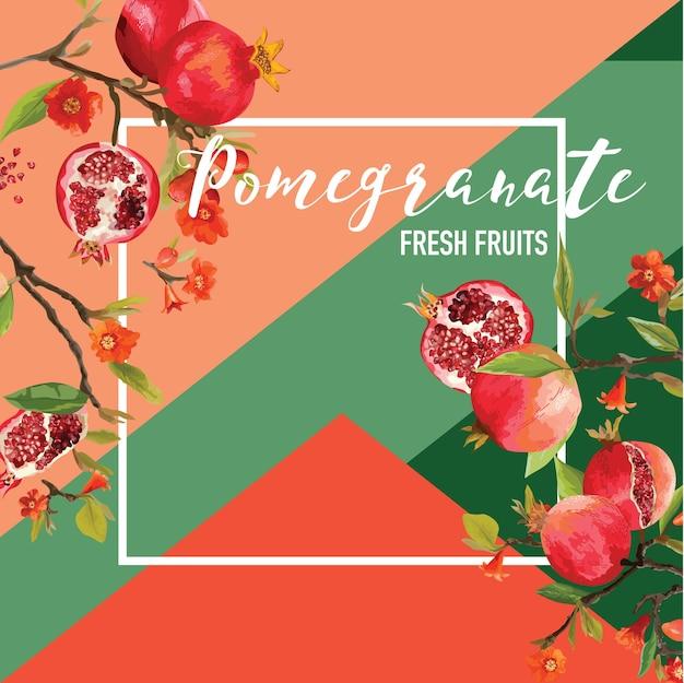 Banner estivo di frutta e fiori di melograno tropicale, sfondo grafico, invito floreale esotico, volantino o carta. prima pagina moderna