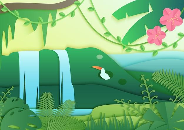 Foresta pluviale tropicale giungla con uccelli, cascata e fiori carta tagliata panorama di stile