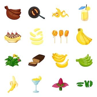 Icona tropicale e matura. collezione di icona tropicale e potassio.