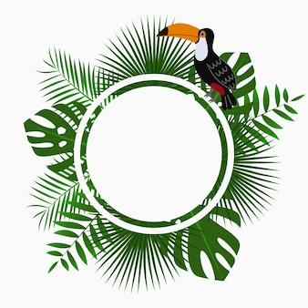 Modello di poster o banner di carta arrotondata tropicale con foglie di palma giungla e uccello tucano