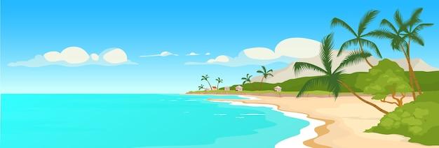 Illustrazione di colore piatto spiaggia sabbiosa tropicale. scena di palme e riva del mare selvaggio