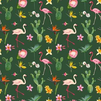 Reticolo di estate floreale senza giunte tropicale. per sfondi, sfondi, trame, tessuti, carte.