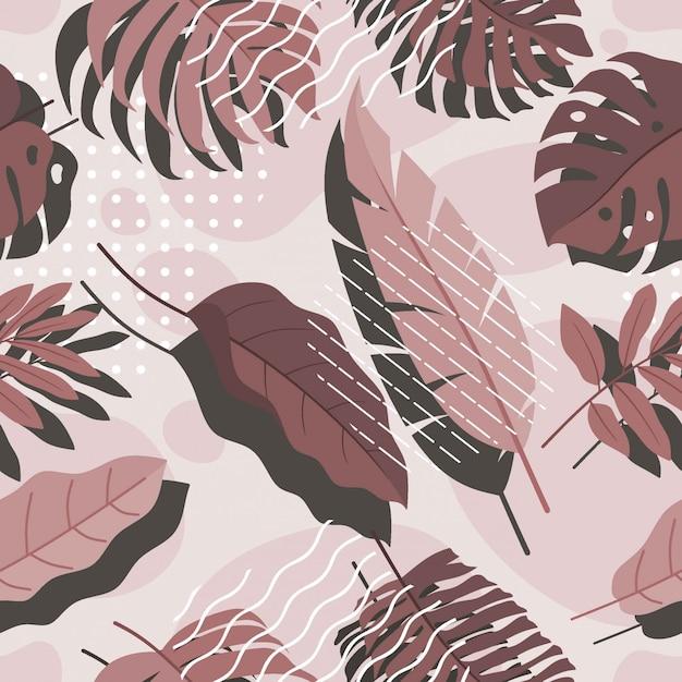 Modello di foglie tropicali senza soluzione di continuità.