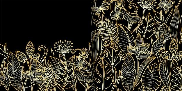 Modello senza cuciture tropicale e set di bordi sfondi di contorni floreali ripetono sfondi