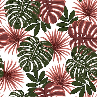 Modello senza cuciture tropicale. foglie e piante tropicali colorate