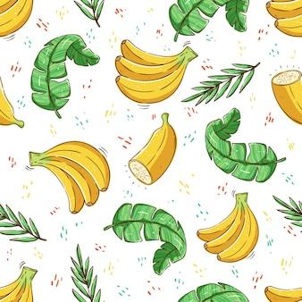 Motivo tropicale senza cuciture motivo estivo con frutta di banana e foglie di banana