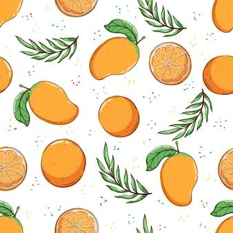 Motivo tropicale senza cuciture motivo estivo con frutta e foglie di arancia mango