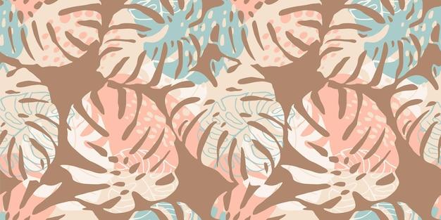 Modello senza cuciture tropicale con foglie astratte.