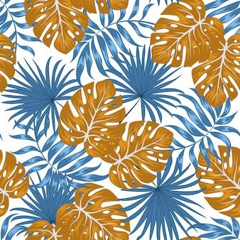 Modello senza cuciture tropicale con foglie e piante blu e marroni