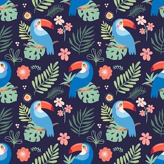 Modello senza cuciture tropicale con pappagalli colorati e foglie