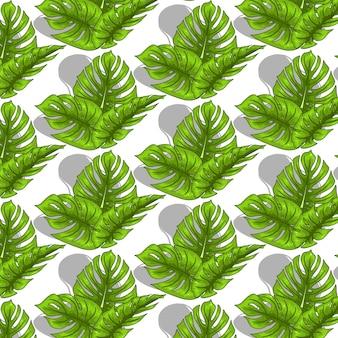 Modello senza cuciture tropicale con foglie esotiche in stile cartone animato. stampa estiva brillante per design e sfondo.