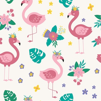 Modello senza cuciture tropicale con fenicottero rosa floreale fondo di vettore del fumetto con fenicottero