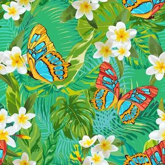 Reticolo senza giunte tropicale con fiori e farfalle. sfondo floreale di foglie di palma. design del tessuto alla moda