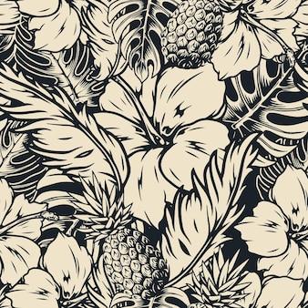 Modello senza cuciture tropicale con fiori di ibisco e ananas