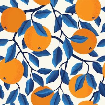 Modello senza cuciture tropicale con arance. Vettore Premium