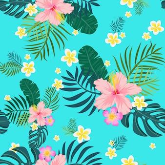 Reticolo senza giunte tropicale con foglie di palma e fiori. illustrazione vettoriale