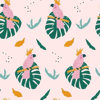 Modello senza cuciture tropicale con pappagallo, foglie esotiche.